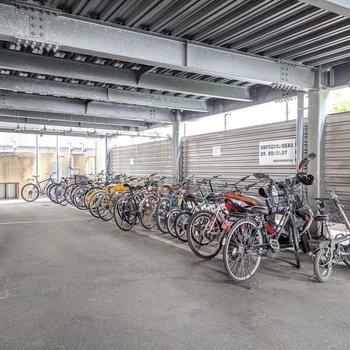 駐輪場は駐車場の一角に。