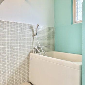 お風呂にもミントグリーン。