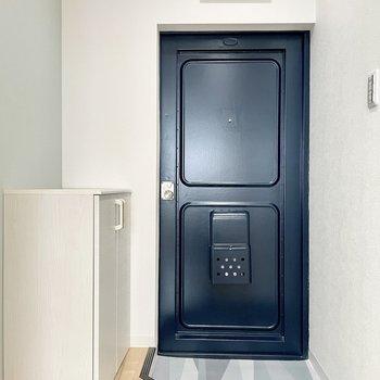 玄関周りはまさにブルー。