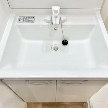 スリムですが、洗面器は横幅・深さ、どっちもあります。