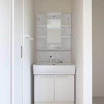 洗面台の収納スペースはシャンプーやリンスのストックなどを入れておこう(※写真は2階の同間取り別部屋のものです)