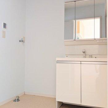 脱衣所もゆったり◎3面鏡付き洗面台はホコリもたまりにくい!(※写真は1階の同間取り別部屋のものです)