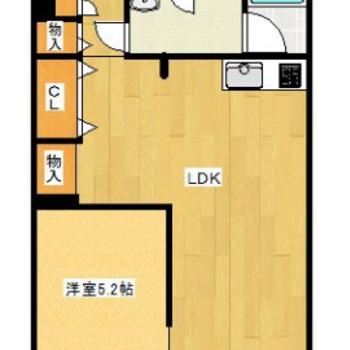 リビングは12帖で洋室は5.2帖。2人暮らしにぴったりですね!