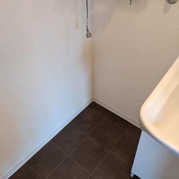 独立式洗面台の隣に洗濯機置き場があります。