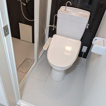 温水便座機能付きです。トイレを通ってシャワールームへ。