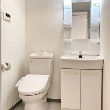 洗面とトイレは同室ですが圧迫感がないので気にならなさそうです