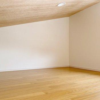【ロフト】サイズはコンパクト。立つことはできない高さなので、ここは収納スペースに。(※写真は1階の同間取り別部屋のものです)