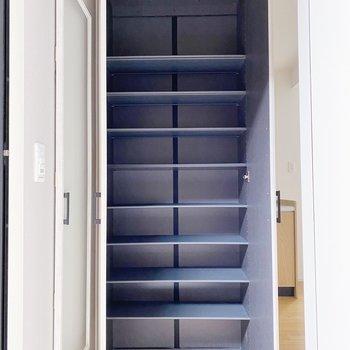 【1階】ビックサイズのシューズボックス。30足以上入りますよ。(※写真は1階の同間取り別部屋のものです)