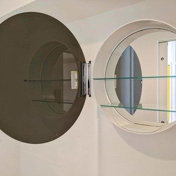 扉の中にも鏡が!棚もあって便利です。