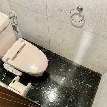 トイレまでシックな世界観◎(※写真は4階の同間取り別部屋のものです)