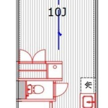 約10帖の広々ワンルーム。※写真は3階の同間取り別部屋のものです