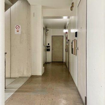 【共用部】ワンフロアに3部屋。ちょっとドキドキしちゃう渋さがあります。