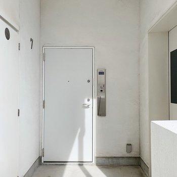 共用部も清潔でした。ドアをあけるとすぐエレベーターがあります。