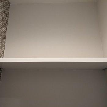 上には棚があります。トイレットペーパーや掃除道具を収納できます。