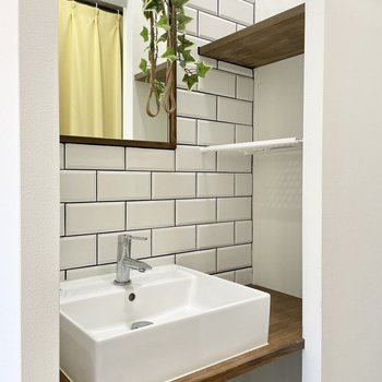 洗面台が陰に隠れています。こうやってグリーンを置くといい気持ち。