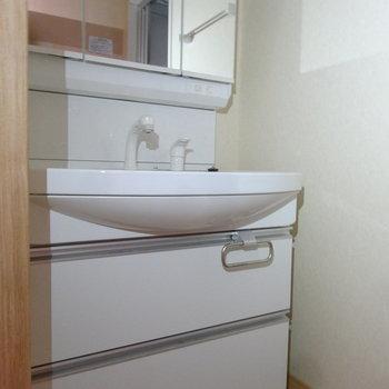 洗面台はとっても大きいサイズです。(※写真は2階の同間取り別部屋のものです)