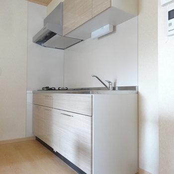 大きなシステムキッチンです。(※写真は2階の同間取り別部屋のものです)