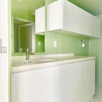 洗面台は鏡が大きく、収納も多い◎※写真は通電前のものです