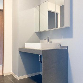 洗面台は洗練されたデザイン。