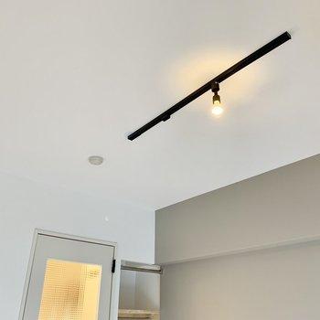 こぶりなライティングレールさん!ぽっと天井から照らしてくれます。