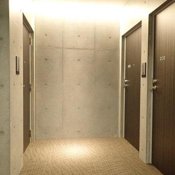 【共用部】廊下もコンクリ打ちっぱなし、だけど床は絨毯で天井は間接照明、柔らかな空間です。