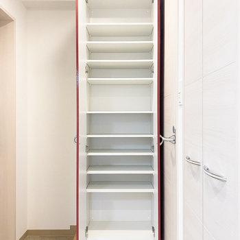 2~3足ほど収納可能。下の段はブーツが収まりそうです。(※写真は10階の反転間取り別部屋のものです)