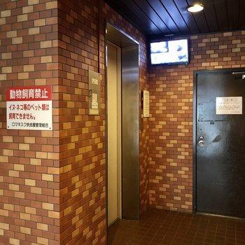 エレベータはこちら。防犯カメラ付き。