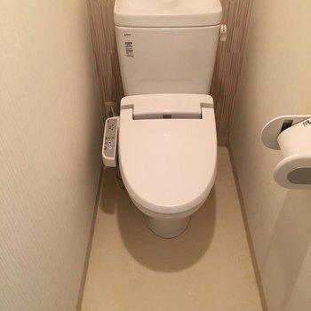 トイレはウォシュレット完備!(※写真は1階の同間取り別部屋のものです)