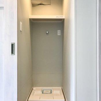 洗濯機置き場でした!換気扇付きって地味に嬉しいポイント…!(※写真は5階の同間取り別部屋のものです)