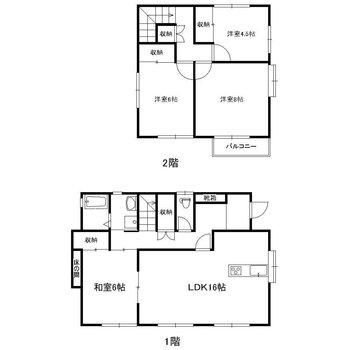 1階にリビングと和室、2階に洋室3部屋があります