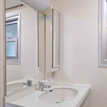 洗面台には大きな鏡もついています。