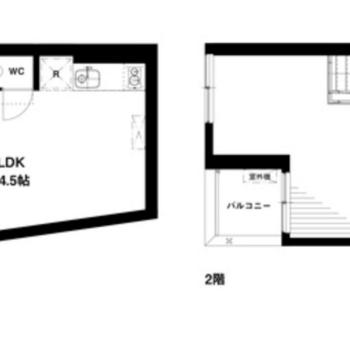1階部分ではお店をひらくことができますよ。2階も広々、居住スペースによさそうな開放的空間です。