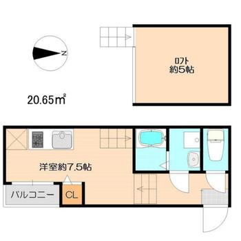 1人暮らしにぴったりなロフトつきワンルームです。(※実際のクローゼットはキッチンコンロ横です)
