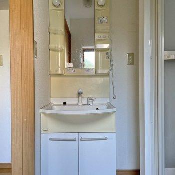 ポケット付きの洗面台。サッと出し入れできるのが◯(※写真は清掃前のものです)