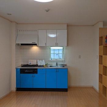 【LDK】ブルーのキッチンは可愛い雰囲気!