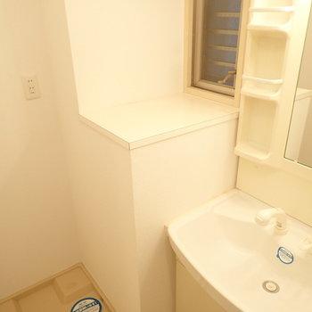 洗面台のとなりに台がありました。(※写真は3階の同間取り別部屋のものです)