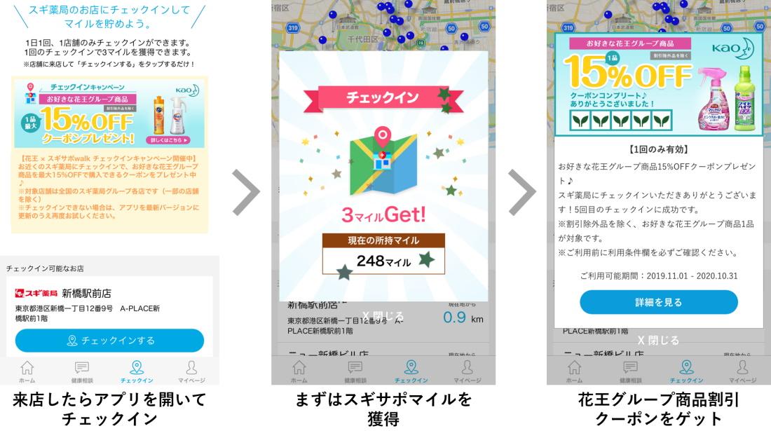 スギwalk×花王チェクインキャンペーン