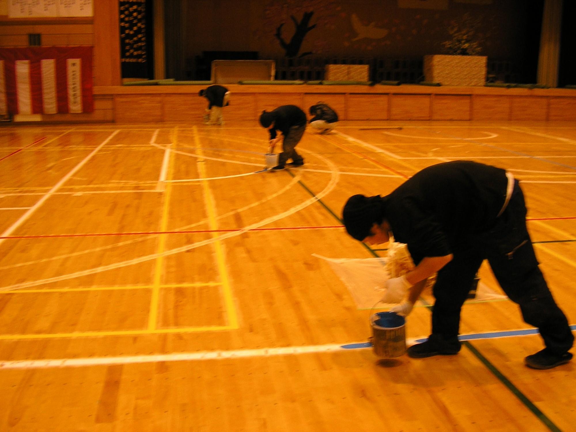 体育館 ライン引き工事(バスケットボール)