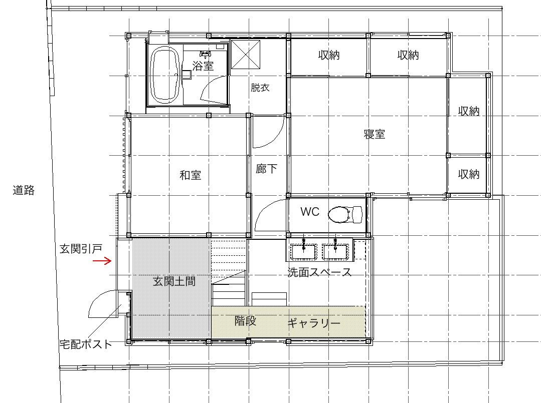大胆改造プラン2(えっ?玄関ギャラリーに洗面所??)
