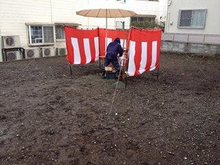 雨の中だからこそ、力いっぱいの地鎮祭。