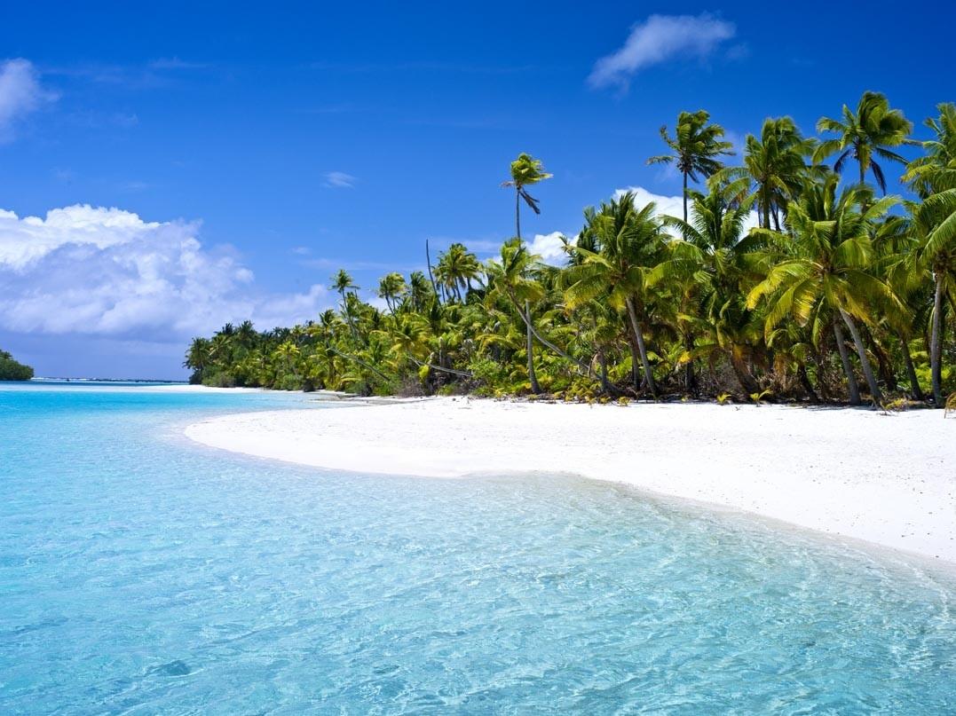 クック諸島 ワンフット島のラグーン