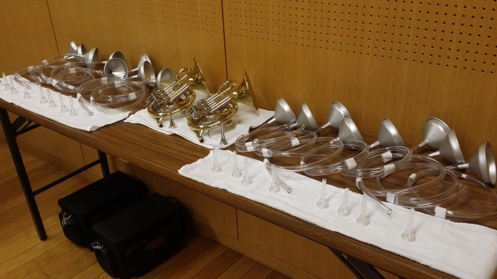 ワークショップ「キミも管楽器マスター」準備の様子