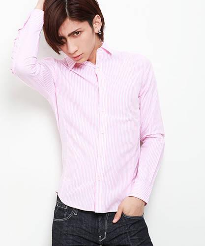 1cf8494b18d52 ピンクのシャツ(ストライプ, 長そで)のメンズコーディネート・着こなし