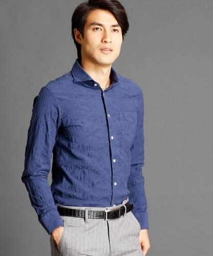 50133738192d49 青・ブルーのシャツ(ペイズリー, 長そで)のメンズコーディネート・着こなし
