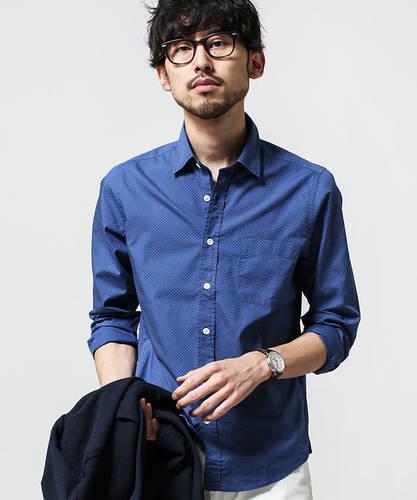 323b62db1a38d0 青・ブルーのシャツ(ドット(水玉), 長そで)のメンズコーディネート ...