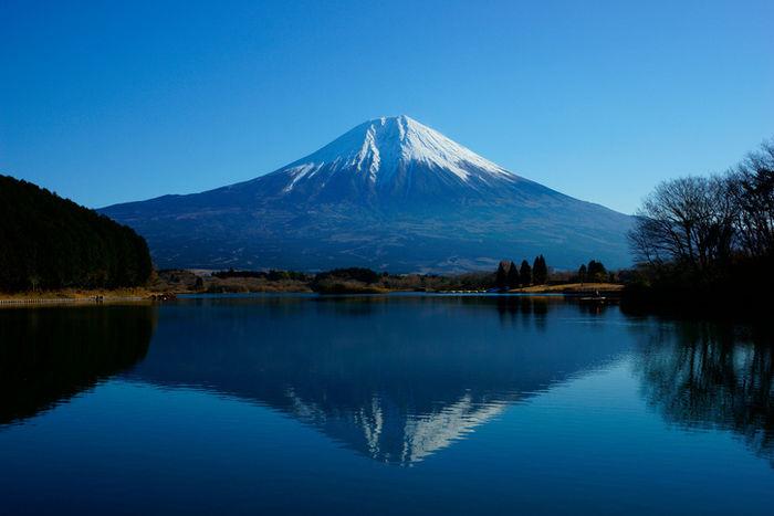 富士山と湖に映る逆さ富士