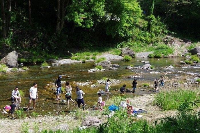 秋川渓谷リバーティオで川遊びをしている人たちの写真