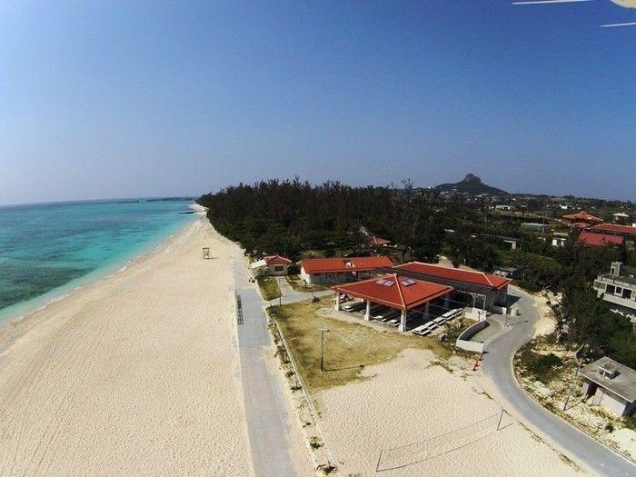 伊江島青少年旅行村キャンプ場のビーチ