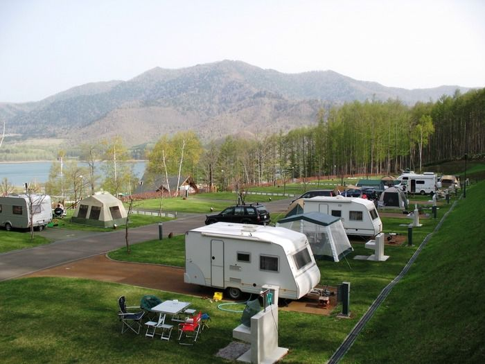 かなやま湖オートキャンプ場のテントサイト