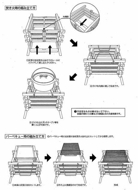 コールマンの焚き火台の組み立て方の説明図